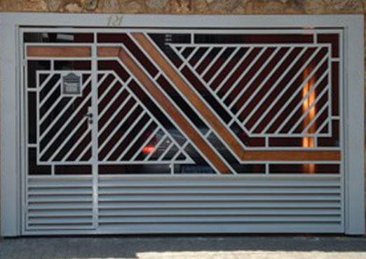Fabrica de Portão com detalhe em madeira green ville são bernardo